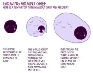 Image howing a model of how grief works following a bereavement